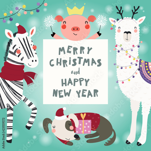 Papiers peints Des Illustrations Hand drawn card with cute funny animals in Santa Claus hats, smowmen, text Merry Christmas and Happy New Year. Vector illustration. Scandinavian style flat design. Concept for children print.