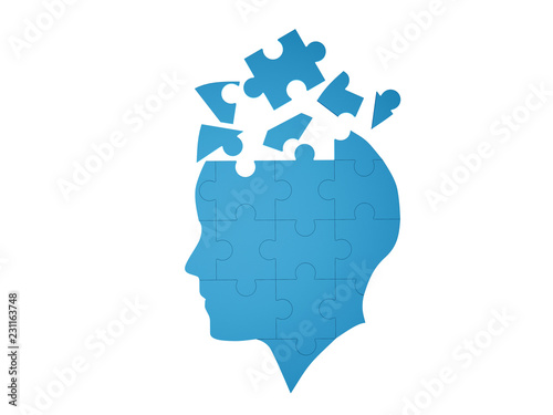 Blue jigsaw puzzle as a human brain on white background in medical concept for Alzheimer's disease Canvas Print