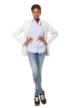 Full Body Attractive Young Black Woman In Blazer Standing Against White Background