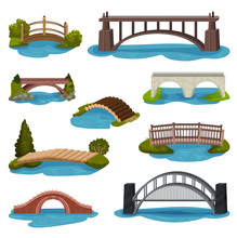 Flat Vector Set Of Different Bridges. Wooden, Metal And Brick Footbridges. Constructions For Transportation. Architecture Theme
