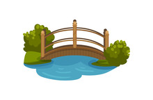 Wooden Arch Bridge With Railings. Footbridge Over Small Pond. Green Bushes And Grass. Flat Vector Element For Map Of City Park
