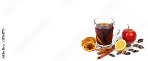 herbata świąteczna lub grzane wino - świąteczny baner panoramy - z miejscem na swobodne korzystanie z tekstu nagłówka