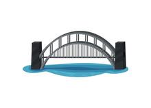 Large Metal Bridge Over Blue River. Modern Construction For Transportation. Urban Transport Infrastructure. Flat Vector Design