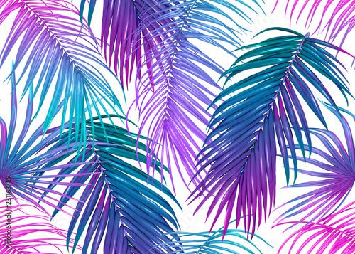 Türaufkleber Künstlich Tropic leaves seamless pattern in neon colors