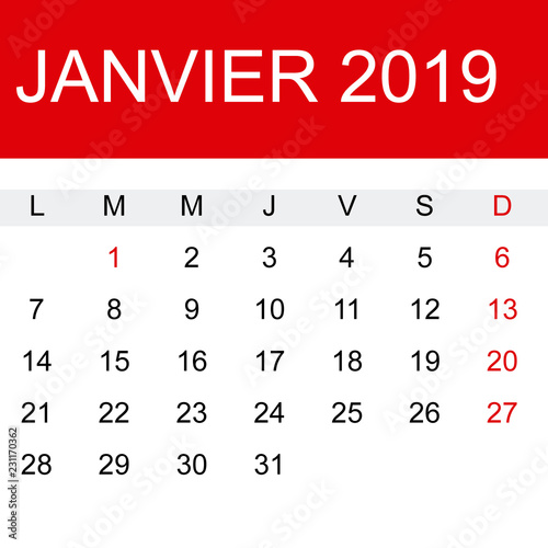 Calendario M.Calendario Enero 2019 En Frances Buy This Stock Vector