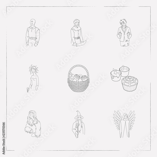 Fotografie, Obraz  Set of holiday icons line style symbols with candies basket, cupcake, chewbacca icons for your web mobile app logo design