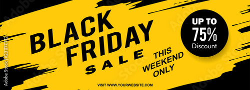 Papel de parede Black friday web banner design with yellow ink splash style vector