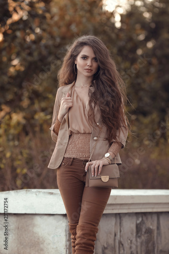 493e66990 Beautiful stylish woman. Fashion outfit