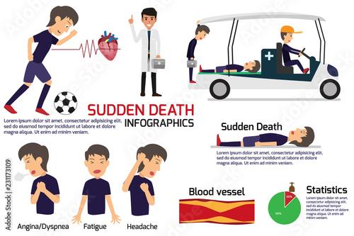 Fotografía  soccer player having a sudden death attack infographics, medical and health concept in heart attack or sudden death, stroke, vector illustration