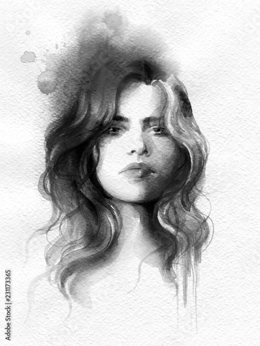 Foto op Aluminium Aquarel Gezicht beautiful woman. fashion illustration. watercolor painting