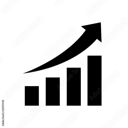 Fotografía  Vector growing graph icon, logo on white background