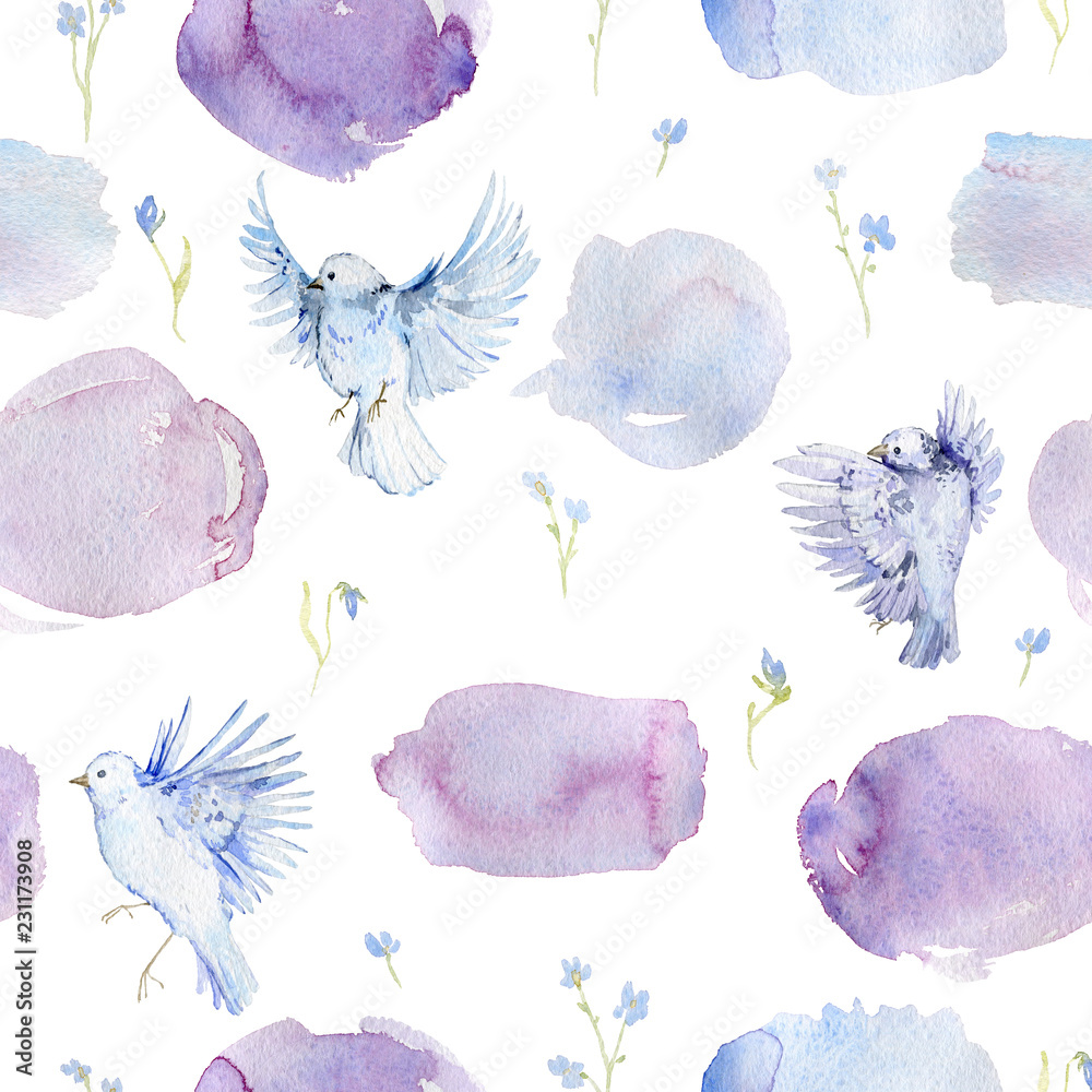 Foto Gentle seamless pattern with birds, forget me not flowers and watercolor splashes