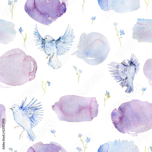 Gentle seamless pattern with birds, forget me not flowers and watercolor splashes Fototapeta