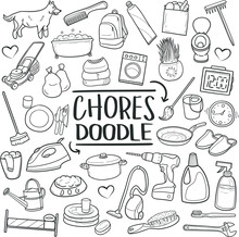 Chores Home Work Traditional Doodle Icons Sketch Hand Made Design Vector