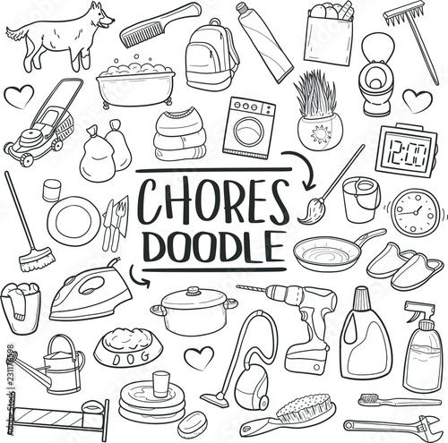 Fotografia Chores Home Work Traditional Doodle Icons Sketch Hand Made Design Vector