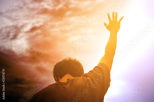 Human hands open palm up worship Wallpaper Mural