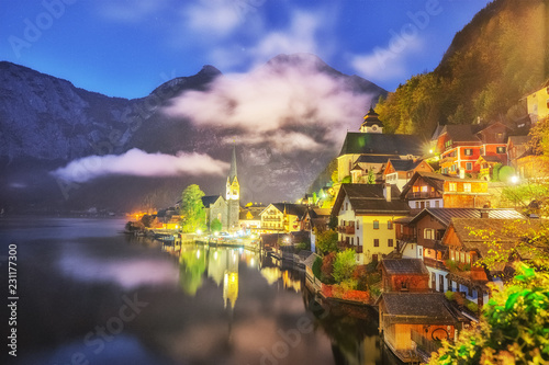 Hallstatt Lake Town in Austria's mountainous Salzkammergut region, High Alps parkland. Picturesque landscape of Great Alpine nature. Hallstatt is famous romantic European UNESCO travel destination.