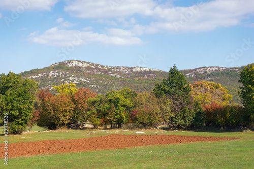 Spoed Foto op Canvas Blauwe hemel Beautiful landscape with field in mountain valley on sunny autumn day. Bosnia and Herzegovina, Republika Srpska, Zubacko polje
