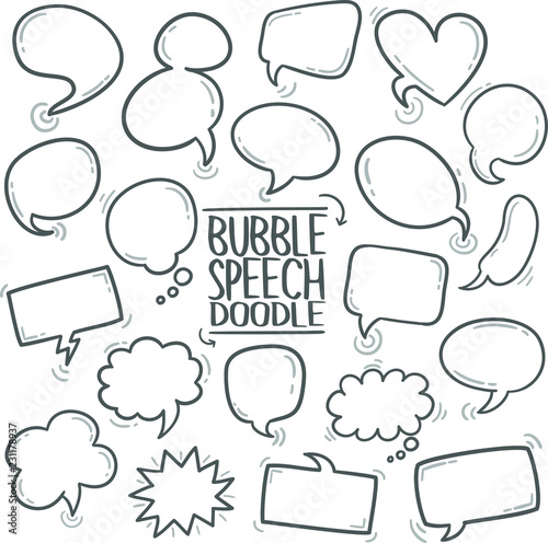 Speech Bubble Traditional Doodle Icons Sketch Hand Made Design Vector