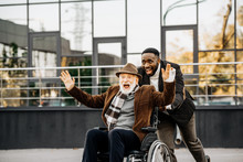 Happy Senior Disabled Man In W...