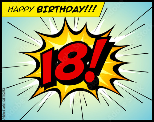 Photographie  Happy Birthday postcard, in a vintage style comic book bubble sound effect  - Vector EPS10