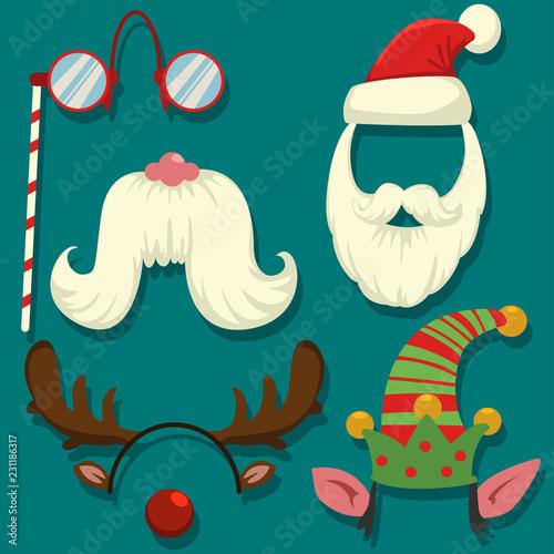 eac3b131ca6 Christmas photo booth props vector cartoon set. Carnival masks for parties   cap and beard of Santa Claus and elf