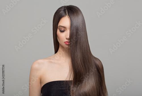 Fotografie, Obraz  Portrait of a fashion woman and long dark hair