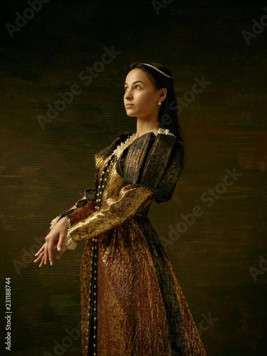Fotografia Girl in medieval beautiful dress or costume of the countess at dark studio