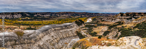 Rugged Landscapes of Theodore Roosevelt National Park in Autumn Canvas Print
