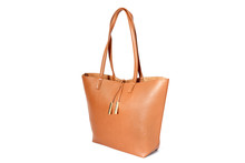 Large Brown Handbag Isolated On White Background