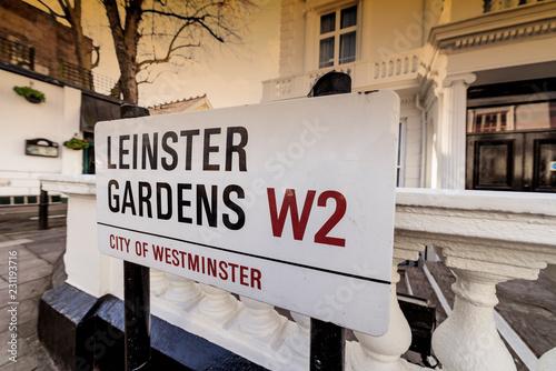 Photo  London street sign, Leinster Gardens W2