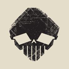 Black And White Imprint Of Skull Alien