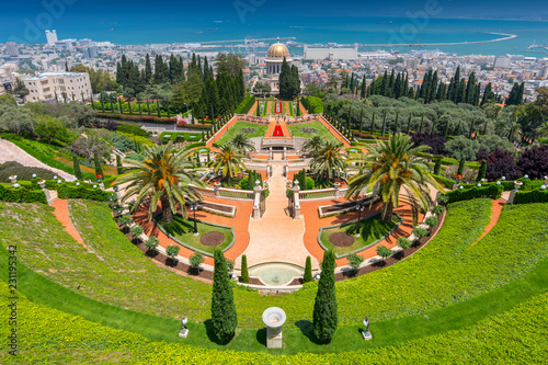Obraz na plátne View over the Bahai Gardens and port in the background in Haifa, Israel, Middle East