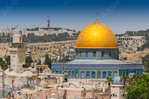 Stampa su Tela  View from the old city of Jerusalem on the Dome of the Rock, Israel