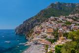The beautiful village of Positano on the Amalfi coast in Italy.