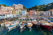Small Fishing Boats At Harbor Marina Grande In Sorrento, Campania, Amalfi Coast, Italy.