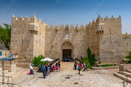 Damascus Gate in the old city, Jerusalem, Israel.