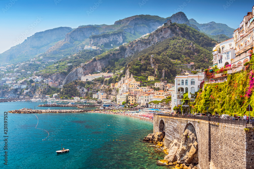 Fototapety, obrazy: View of the beautiful town of Amalfi at famous Amalfi Coast with Gulf of Salerno, Campania, Italy.