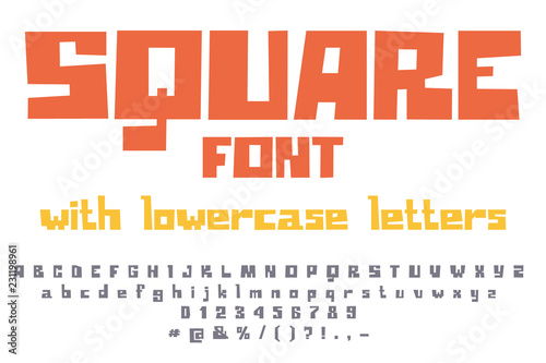 Fototapeta Fancy square game font. Uppercase and lowercase letter.