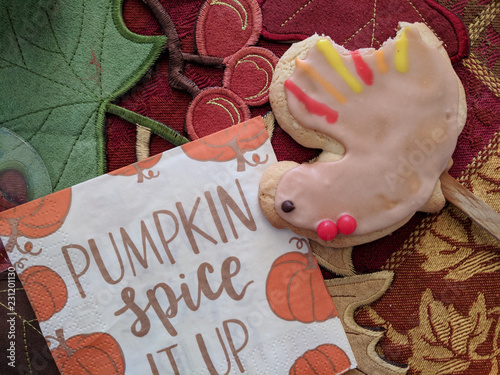 Fotografia, Obraz  Thanksgiving Turkey cookie on dinner table