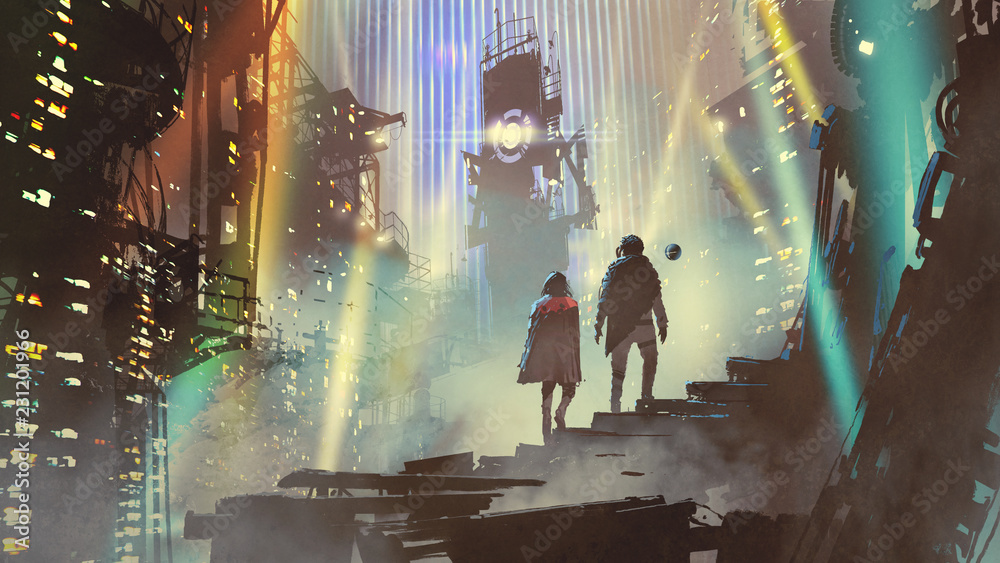 Fototapety, obrazy: couple in the futuristic city at night with buildings and light beams, digital art style, illustration painting
