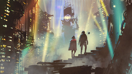 couple in the futuristic city at night with buildings and light beams, digital art style, illustration painting