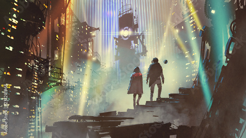 Spoed Foto op Canvas Grandfailure couple in the futuristic city at night with buildings and light beams, digital art style, illustration painting