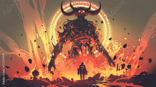 Leinwand Poster knight with a sword facing the lava demon in hell, digital art style, illustrati