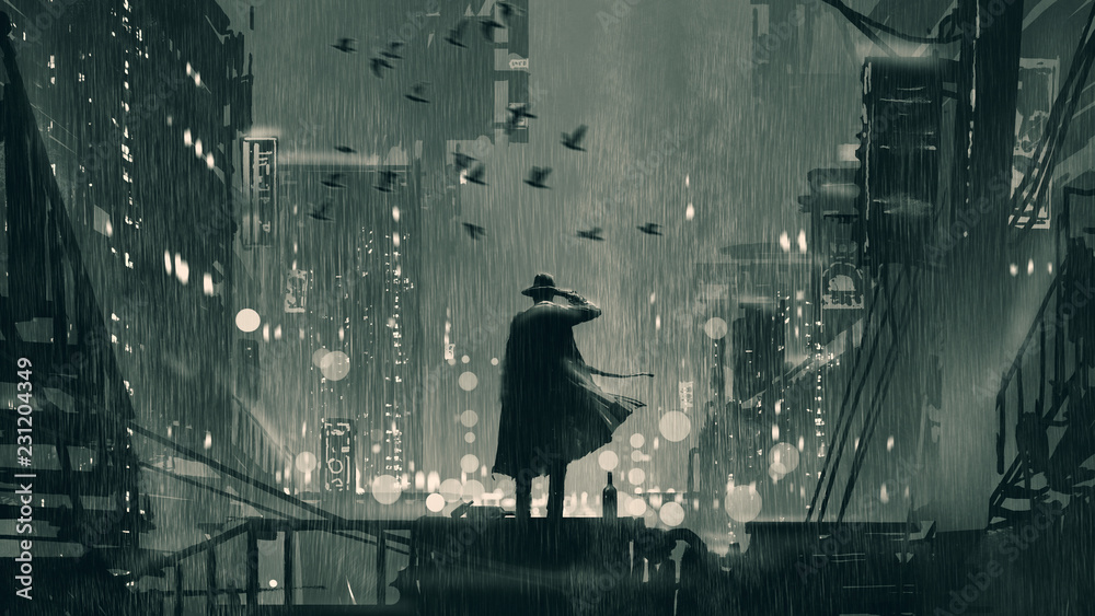 Fototapeta film noir concept showing the detective holding a gun to his head and standing on roof top at rainy night, digital art style, illustration painting