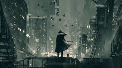 film noir concept showing the detective holding a gun to his head and standing on roof top at rainy night, digital art style, illustration painting