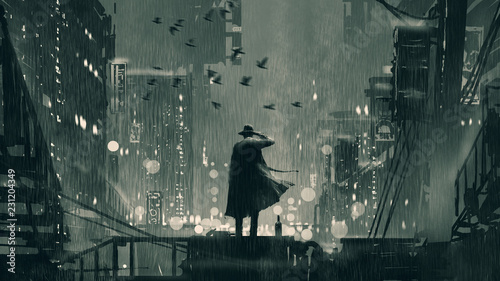 Deurstickers Grandfailure film noir concept showing the detective holding a gun to his head and standing on roof top at rainy night, digital art style, illustration painting