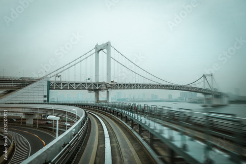 Spoed Foto op Canvas Asia land Monorail on Rainbow bridge, Tokyo bay, Japan