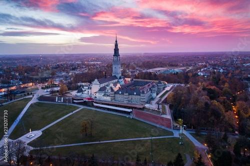 Evening aerial drone view on Czestochowa and Jasna Gora monastery