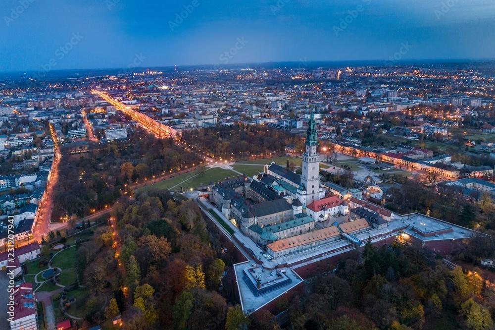 Fototapety, obrazy: Night aerial drone view on Czestochowa and Jasna Gora monastery